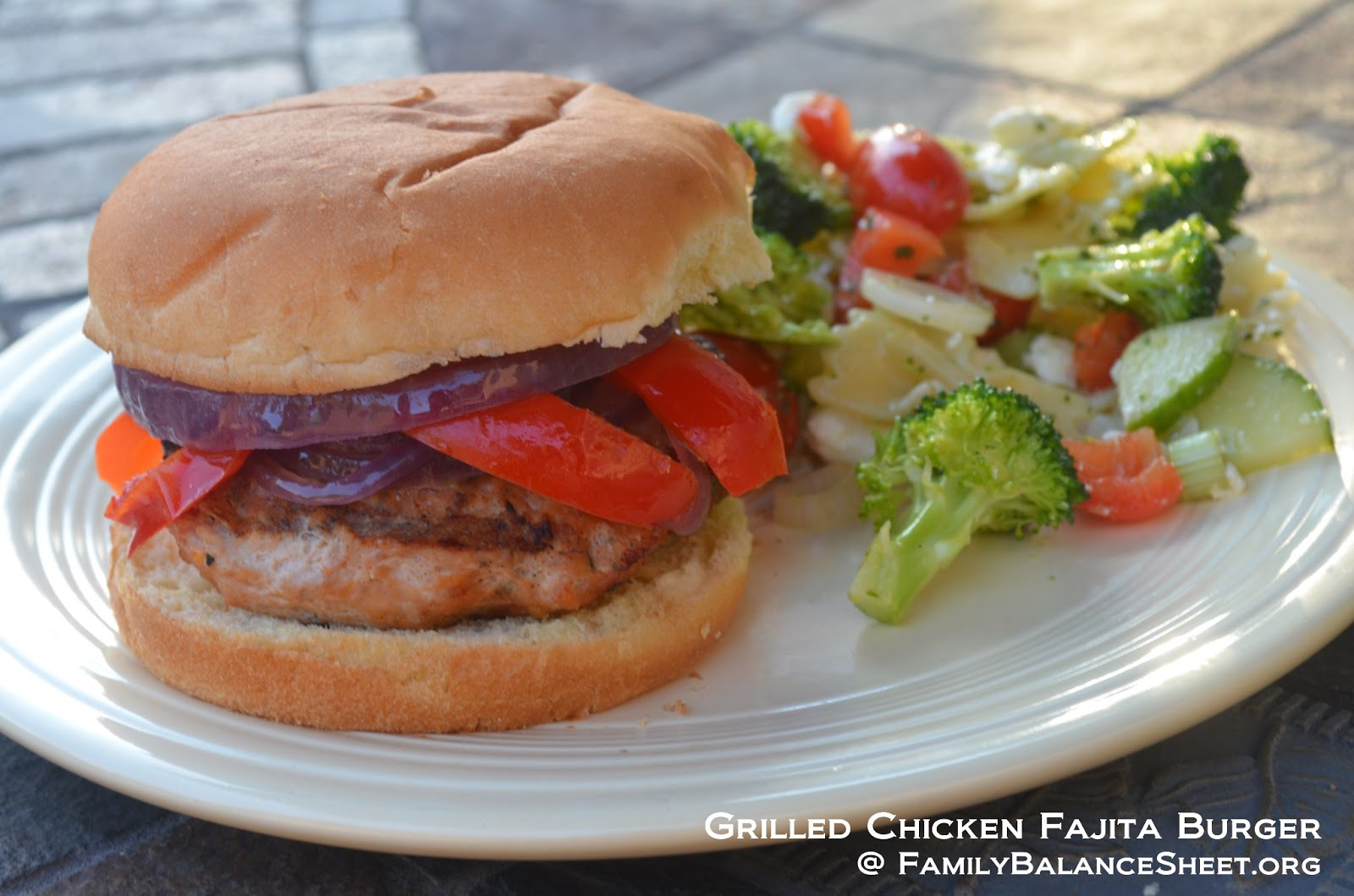 Family Balance Sheet: Grilled Chicken Fajita Burgers