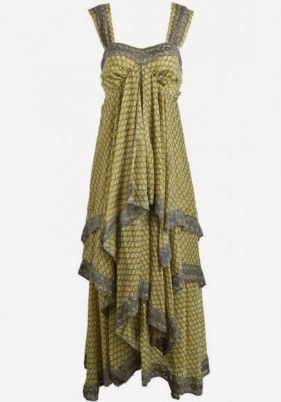 Yellow Floral Print Bow Chiffon Maxi Dress