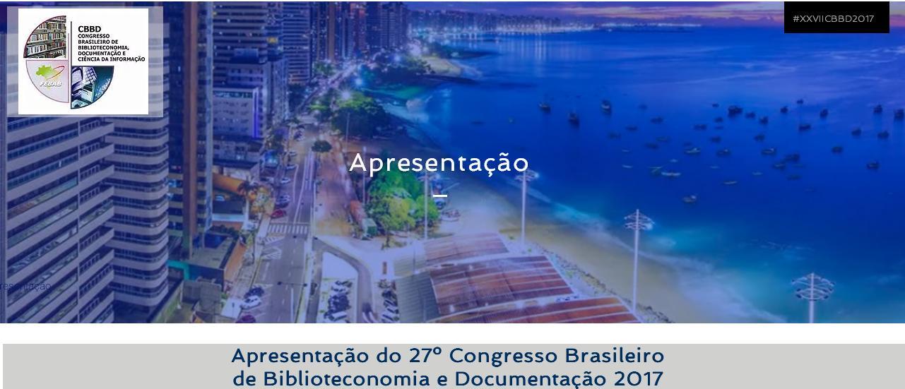 27º Congresso Brasileiro de Biblioteconomia e Documentação 2017