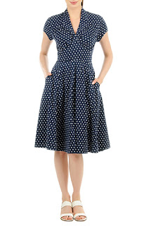 http://www.eshakti.com/shop/Dresses/Feminine-pleated-polka-dot-cotton-knit-dress-CL0036478