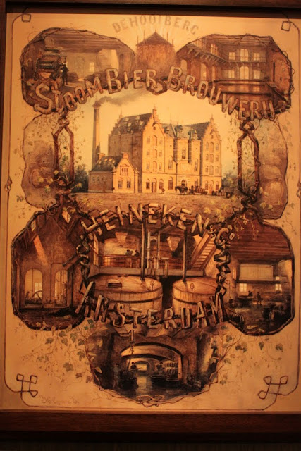 An old wall art painting to describe the process of brewing the beer at Heineken Experience Museum in Amsterdam, Netherlands