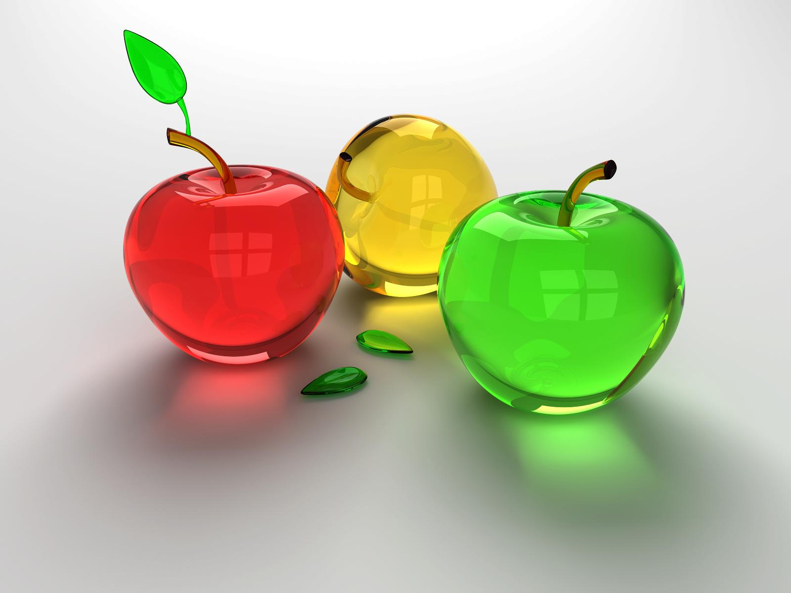 Free Download Glitter 3D Glass Apples Wallpaper