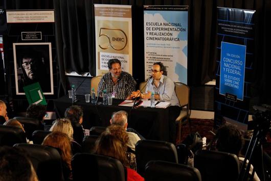 El rector de la Enerc, Pablo Rovito, y el responsible de la Biblioteca, Adrián Muoyo, durante la presentación en Mar del Plata
