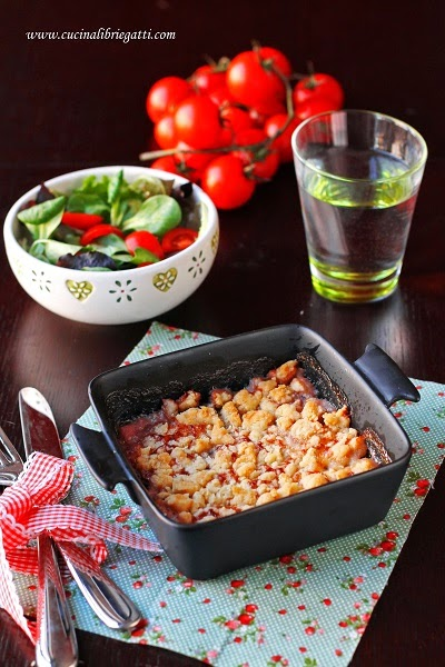 crumble salato radicchio carciofi stracchino