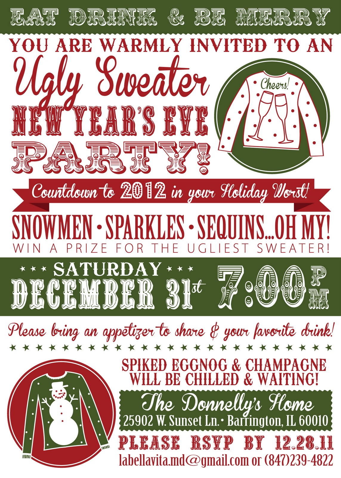 Sweet Peas Lucky Honey New Years Eve Ugly Sweater Party 2012