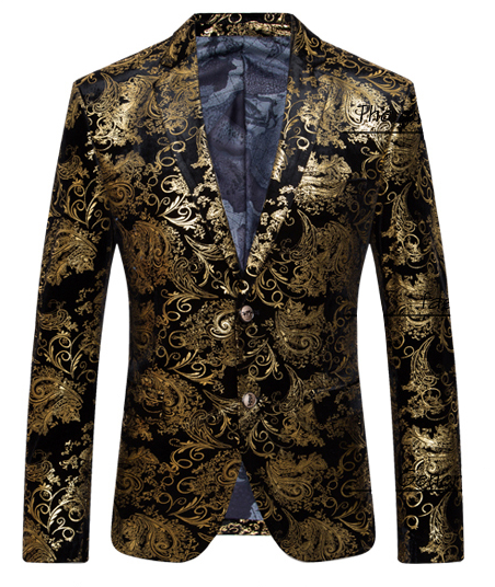 Mens Luxury Blazer Gold Black Velvet