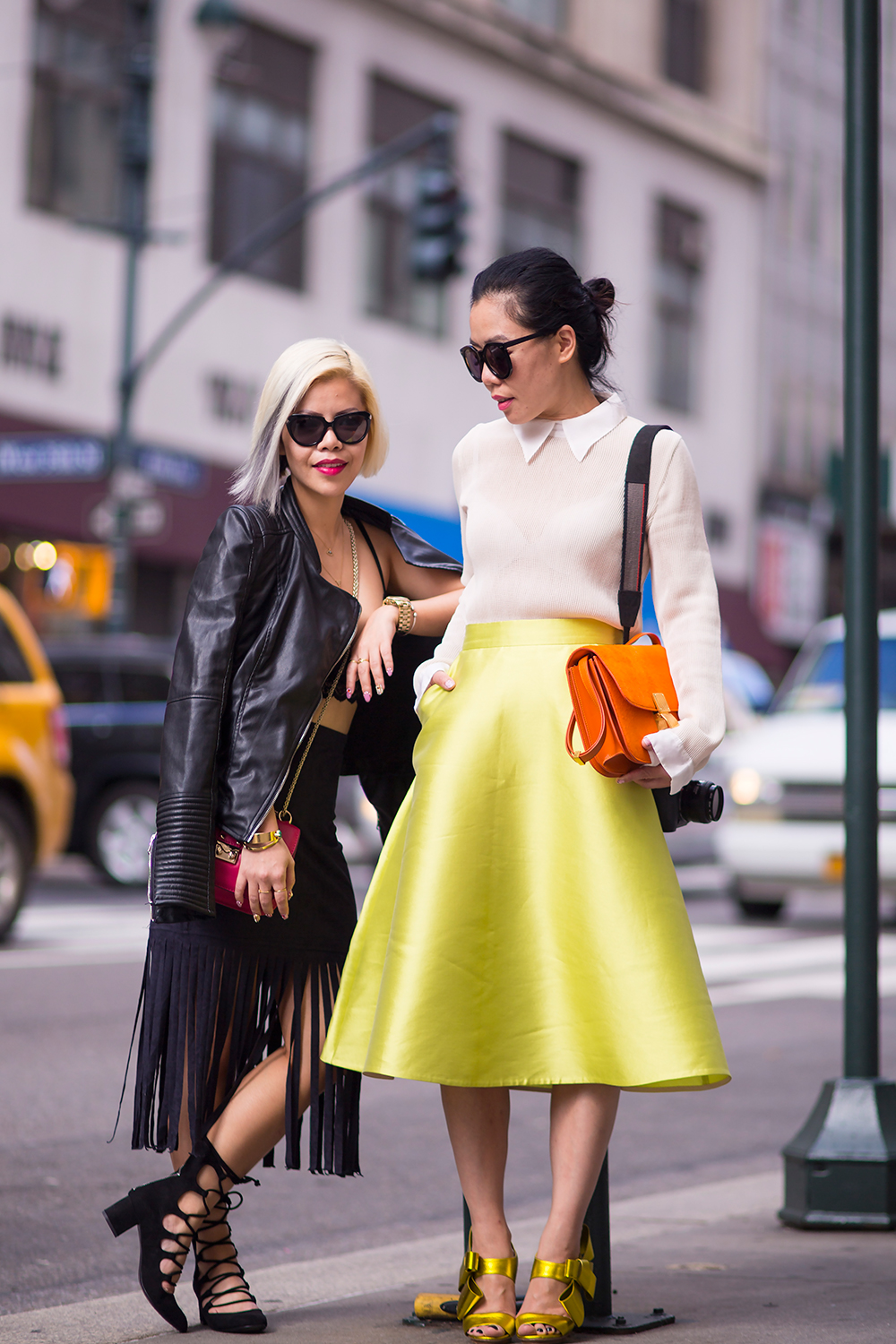 New York Fashion Week 2015 street style- Fashion Blogger Crystal Phuong and Hallie Swanson