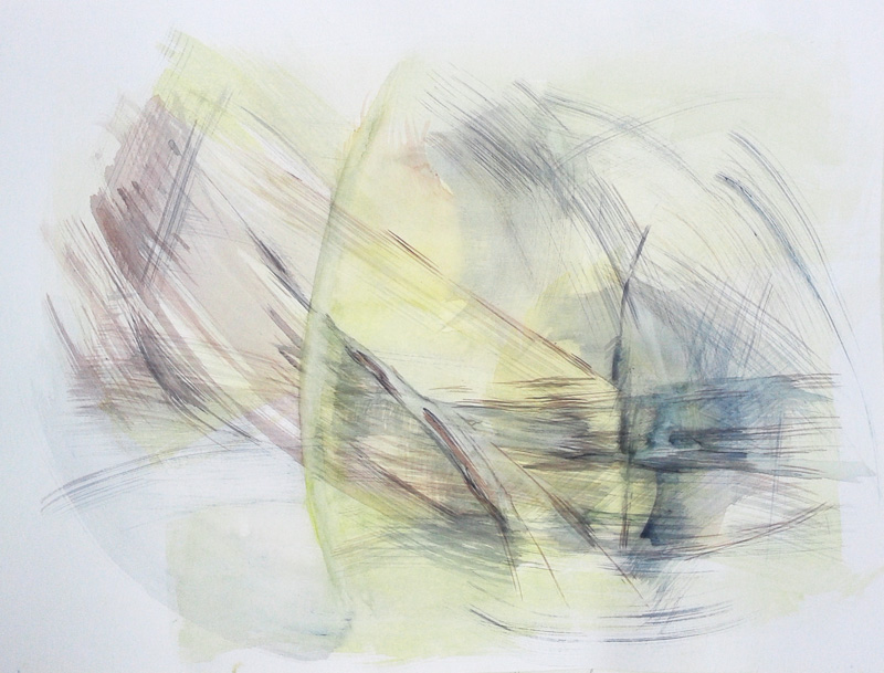 abstract gestural watercolor painting, conceptual modern contemporary art, brushstrokes, yellow blue grey earth tones and white