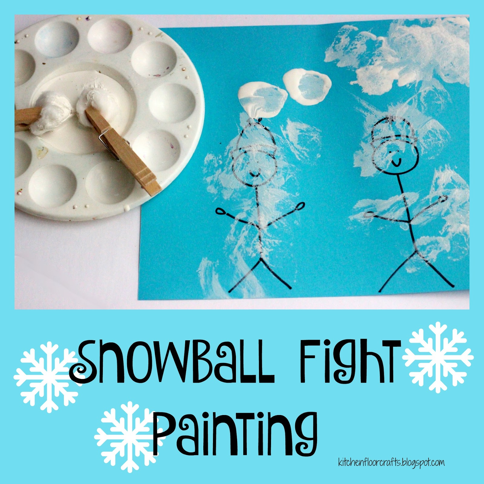 Kitchen Floor Crafts: Snowball Fight Painting