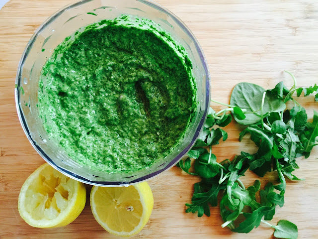 Rocket, watercress and spinach pesto