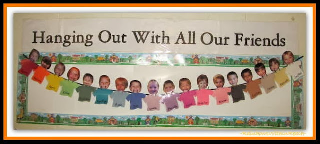 Bulletin Board for Back to School in Preschool via RainbowsWithinReach