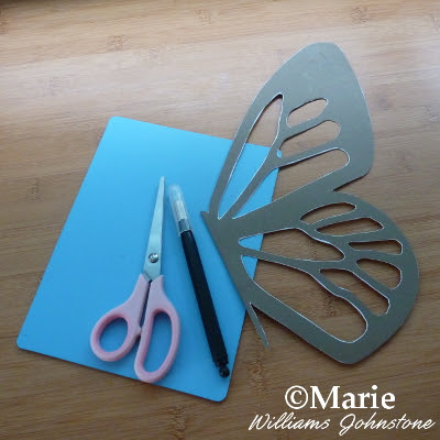 Finished cut stencil of a butterfly wing