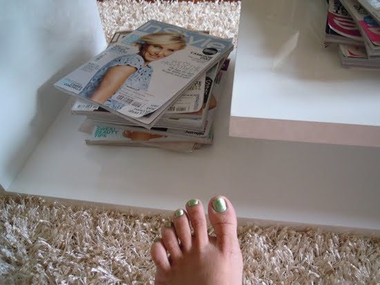 mint green homemade pedicure