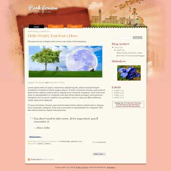 Park Lovers Blogger Template. blogger template from wordpress theme