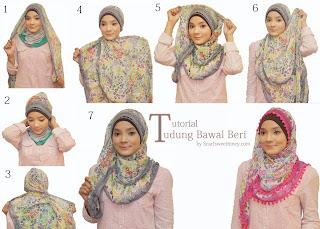 Cara Memakai Jilbab Segi Empat Bawal Beri Style