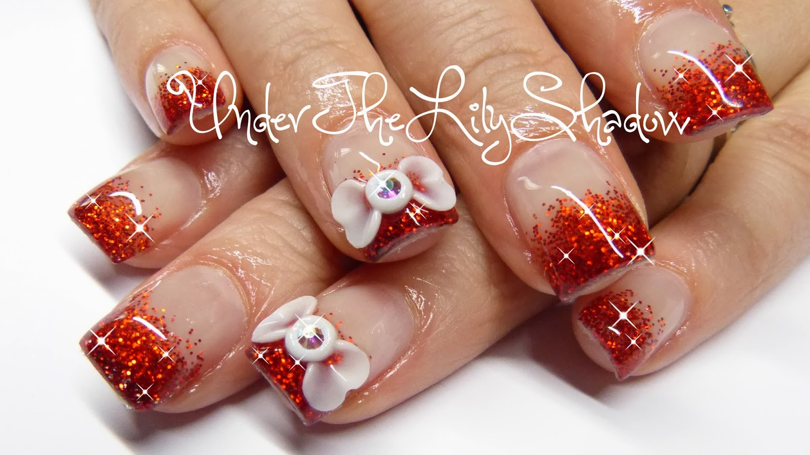 underthelilyshadow: How to acrylic nails - 3D bow and red sparkles