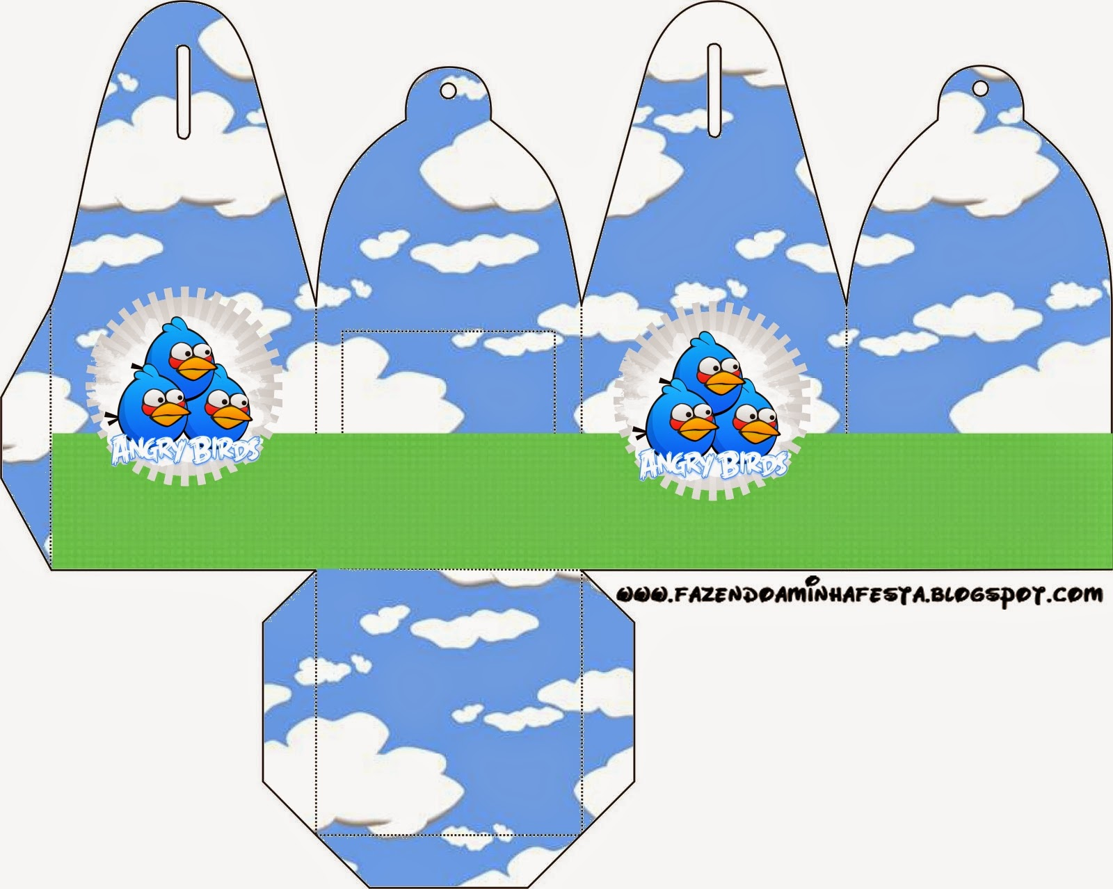 You can use this box for chocolates, candies or cupcakes of Angry Birds with Clouds.