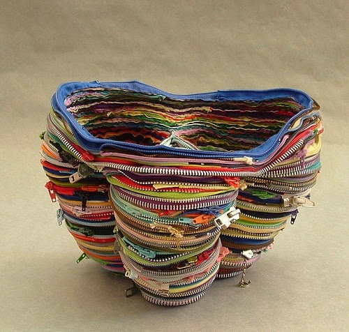 "Elizabeth Morisette vessel series in zipper art ""Zippa Basket"""
