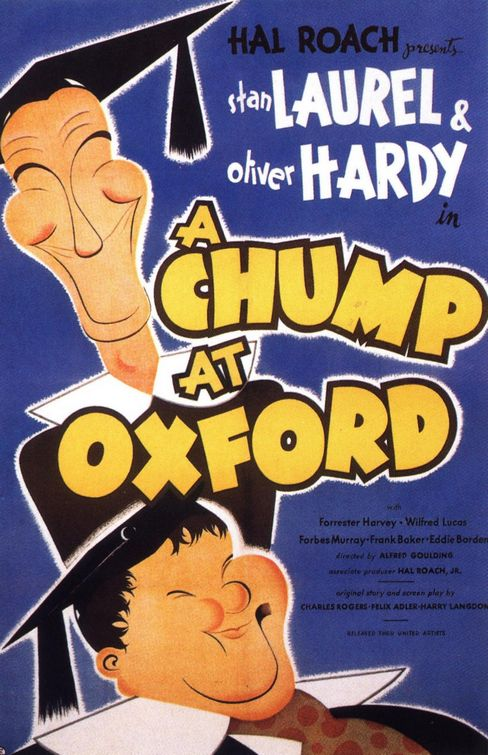 "Film poster of ""A Chump at Oxford"" with Laurel and Hardy"