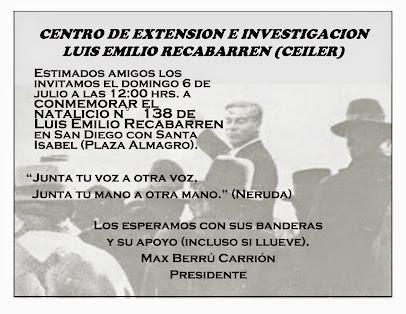 INVITACIÓN A CONMEMORAR EL NATALICIO N°138 DE LUIS EMILIO RECABARREN