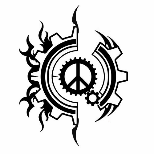 Peace sign steampunk tattoo stencil