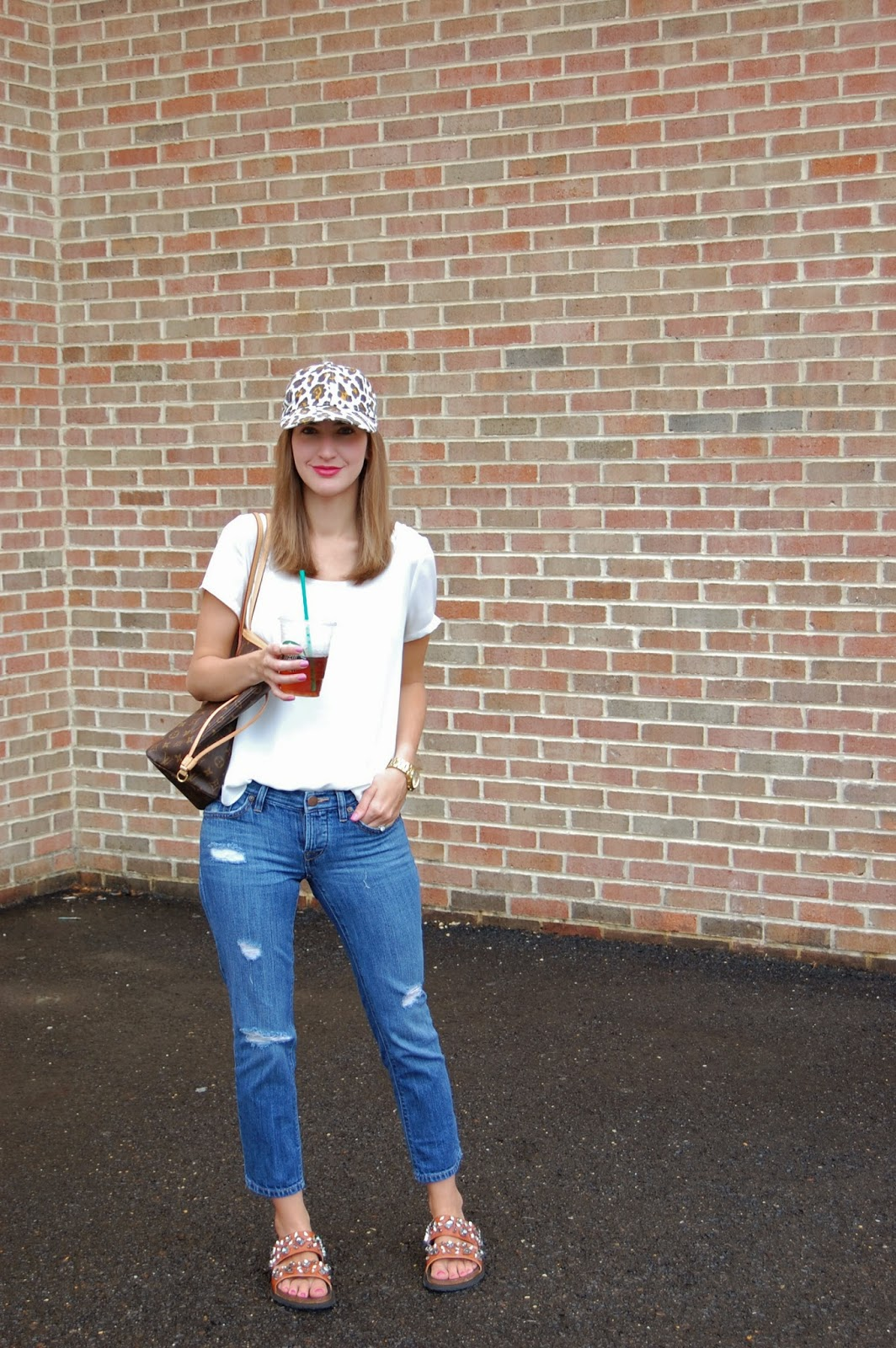 Wearing Jcrew leopard print canvas hat, Nordstrom Lilly side slit tee, Loft boyfriend jeans, Zara leather bio with jewels sandals, Louis Vuitton Neverfull mm, casual weekend look 2014