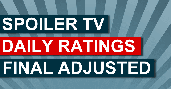 Final Adjusted TV Ratings for Tuesday 14th October 2014