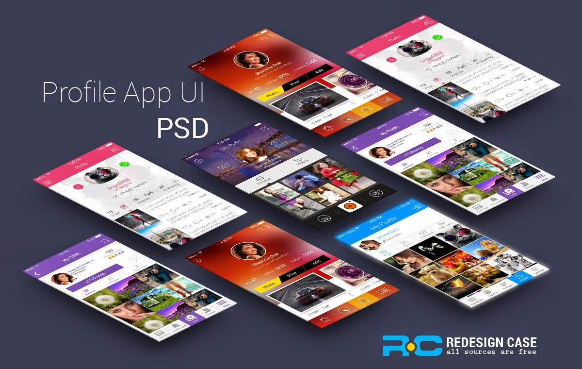 Free 5 App Profile UI PSD