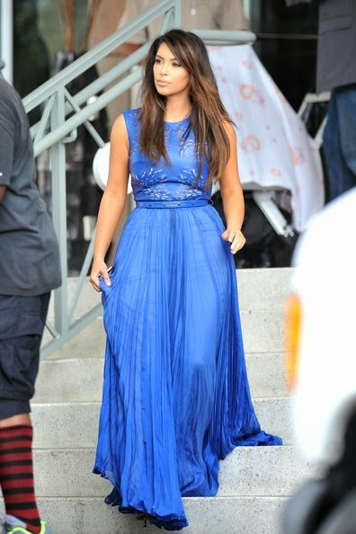 kim kardashian blue veil evening dress