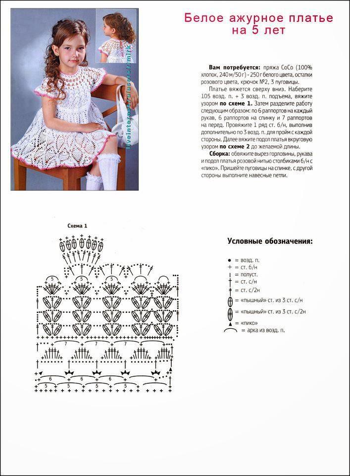 Вязаное платье на девочку 2 лет схема