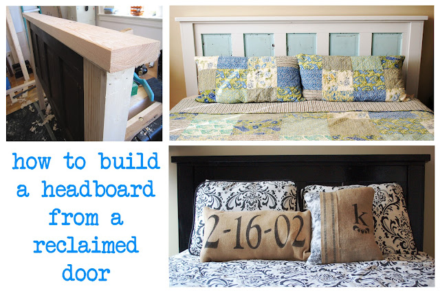 ain 39 t she crafty how to build a headboard from an old door. Black Bedroom Furniture Sets. Home Design Ideas