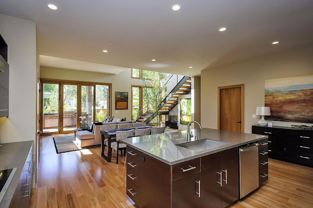 Small modern kitchen island in the Contemporary Style Home in Burlingame