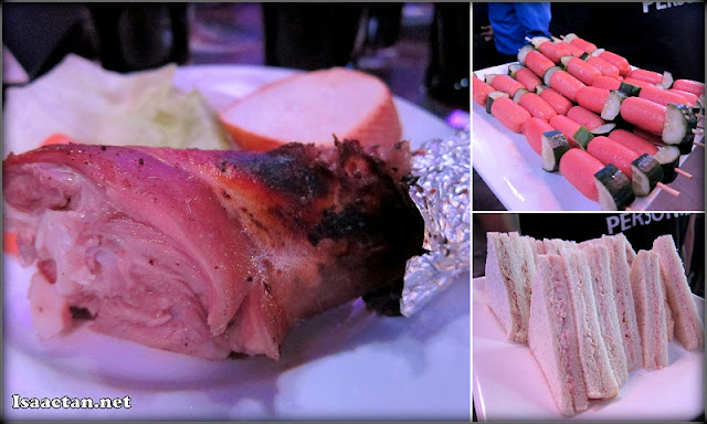 Some of the food served that night, it's a huge piece of grilled lamb on the left by the way