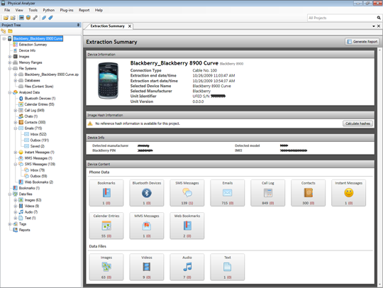 Cellebrite Physical Analyzer Screenshot