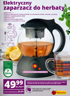 Elektryczny zaparzacz do herbaty z Biedronki ulotka