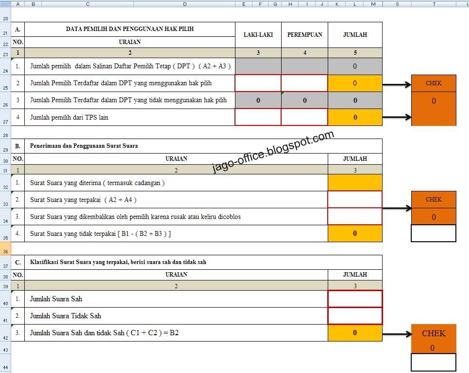 Rumus Excel Laporan Cepat Model C1 Kwk Kpu 300 Rumus Excel