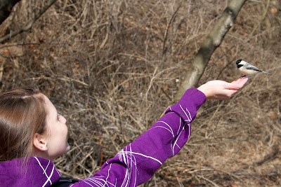 Ashley holding a Chickadee at LaSalle Park