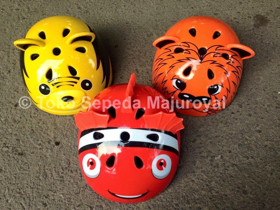 Helm Sepeda Anak Karakter Merah Kuning Orange