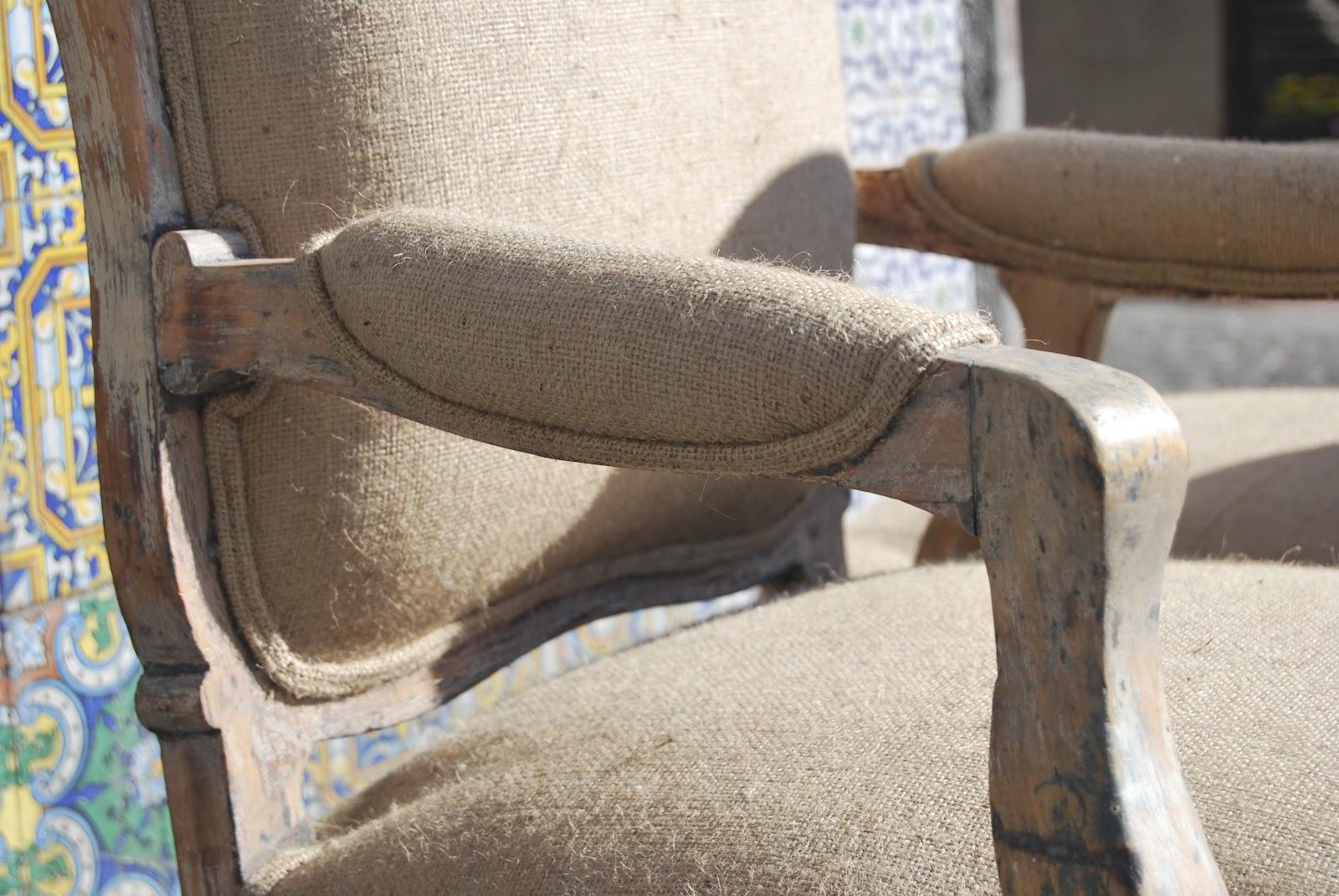 La tapicera butacas tapizadas en arpillera - Como tapizar una butaca ...