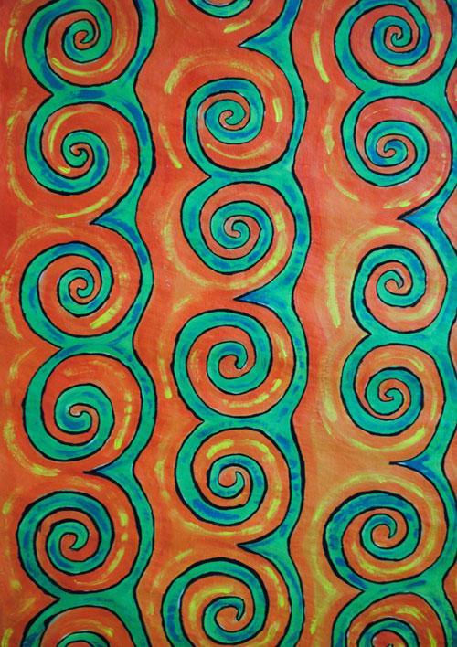 swirls orange green