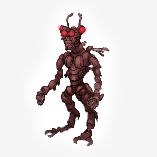 Insect man with glowing red eyes