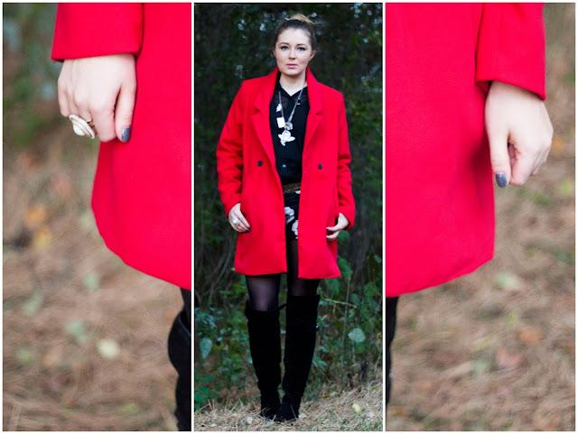 red coat, trend fall 2013, herbst winter trend 2013, roter Mantel, choies, gänseblümchen, daisies, german fashion blogger, deutsche Modeblogger, dutt, messy bun, overknees, tamaris, suede overknee boots,