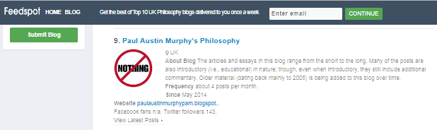 THIS BLOG IS NUMBER 9 OF THE TOP 10 UK PHILOSOPHY BLOGS [Click image]