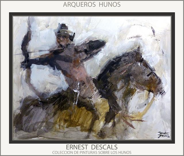 HUNOS-SOLDADOS-PINTURAS-ARQUEROS-EJERCITO-CABALLERIA-PINTURA-ARTE-PINTOR-ERNEST DESCALS-