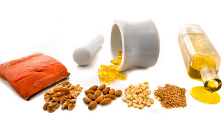 salmon, walnuts, almonds, pine nuts, olive oil and fish oil capsules