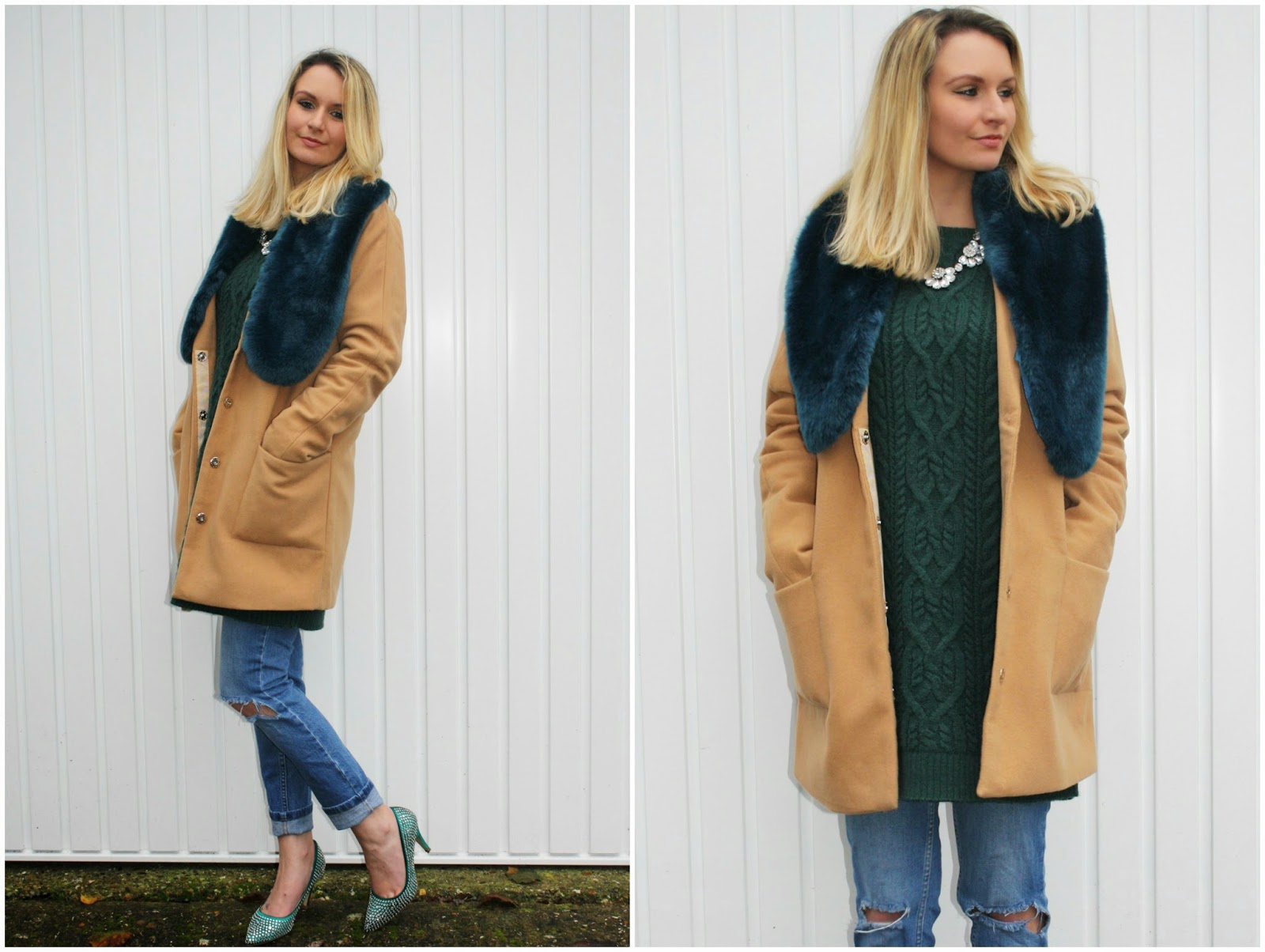 Boohoo camel coat with faux fur