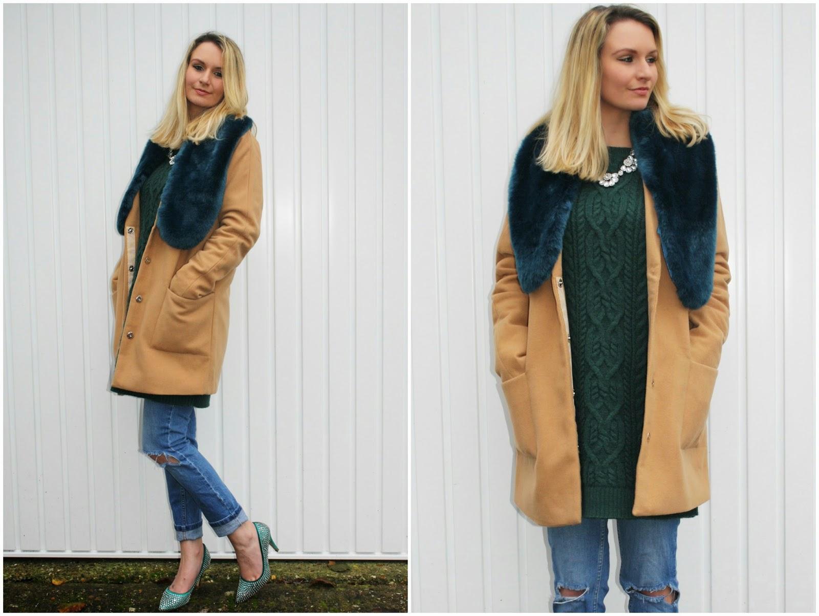 Boohoo camel coat with faux fur