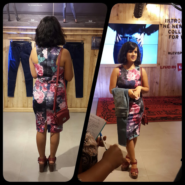 Dayle Pereia, blogger at Style File dressed in a floral bodycon dress and burgundy accessories attends the Levis press day for the launch of the denim collection for women