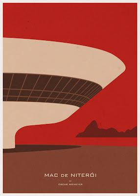 MAC de Niterói - Oscar Niemeyer - Posters de Arquitectura Minimalistas de André Chiote