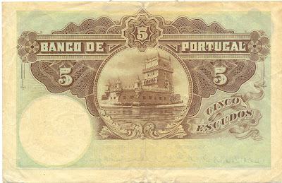 Portugal currency money 5 Escudos Torre de Belém, Lisbon